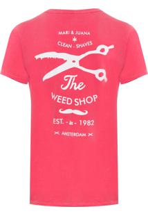 Camiseta Masculina Weed Shop - Vermelho