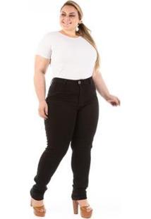 Calça Jeans Confidencial Básica Plus Size Feminina - Feminino-Preto