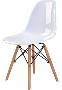 Cadeira Eames Eiffel Policarbonato Branco Solido Base Madeira - 44177 - Sun House