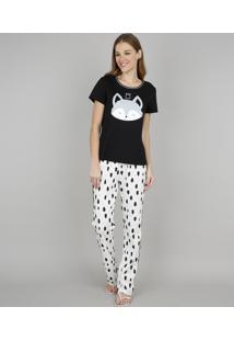 Pijama Feminino Coala Manga Curta Preto
