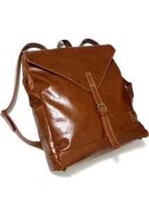 Mochila Line Store Leather London Couro Whisky Rústico.
