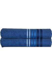 Toalha De Rosto Dynamo- Azul Escuro & Azul- 45X80Cm