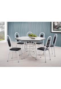 Conjunto De Mesa De Jantar Com 6 Cadeiras Cobalt Branco