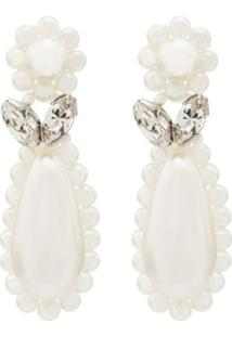Simone Rocha Sterling Silver Flower Teardrop Pearl Earrings - Prateado