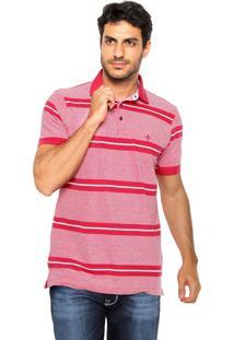 Camisa Polo Dudalina Reta Listras Vermelha