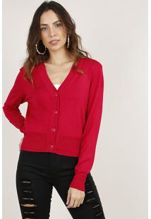 Cardigan Feminino Básico Cropped Em Tricô Rosa Escuro