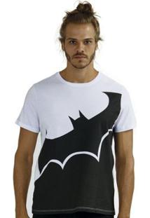 Camiseta Bandup! Masculina Batman Transversal - Masculino-Branco+Preto