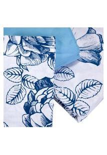 Jogo De Cama King Teka Diamante Juliete Azul Floral 4 Peças