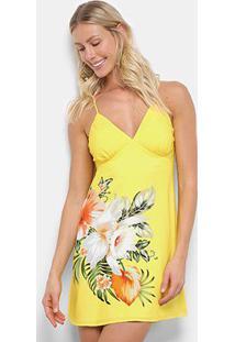 Vestido Curto Farm Veraneio Floral - Feminino-Amarelo