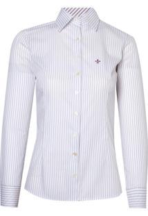 Camisa Ml Feminina Tricoline Ft (Listrado, 46)