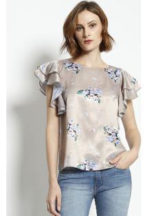 Blusa Floral Acetinada - Bege & Azulenna