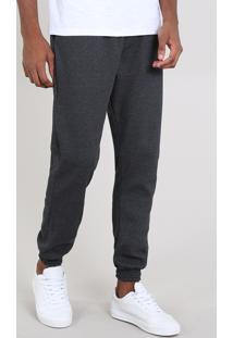 Calça Masculina Relaxed Em Moletom Com Textura Cinza Mescla Escura