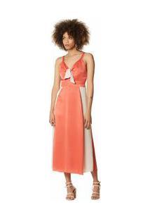 Vestido Midi Decote V Compose De Tecidos Laranja Pp