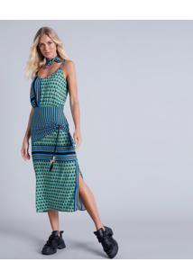 Vestido Mídi Recorte Cintura Palm - Lez A Lez