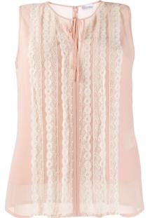 Red Valentino Blusa Com Renda - Neutro