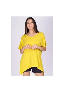 T-Shirt Ampla Malha Manga Curta Amarelo Sol