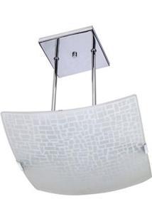 Pendente Attena Quadrado Craquelet 38Cm Em Vidro - Branco