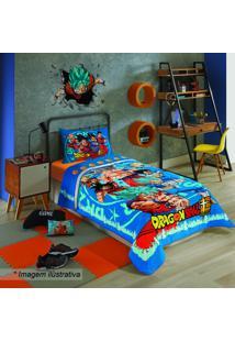 Edredom Dragon Ball Solteiro®- Azul & Vermelho- 150Xlepper