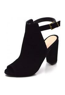 Sandalia Ankle Boot Belle Comfort Salto Grosso Preto