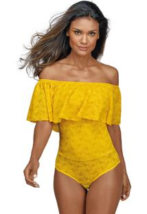 Body Babado Renda Demillus 98022 Amarelo Ouro - Amarelo - Feminino - Dafiti