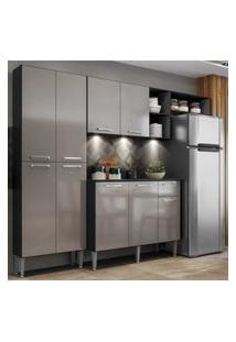 Cozinha Compacta C/ 3 Leds Armário E Balcáo Com Tampo Pequim Multimóveis Preta/Lacca Fumê