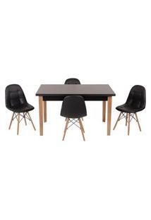 Conjunto Mesa De Jantar Luiza 135Cm Preta Com 4 Cadeiras Botonê - Preto