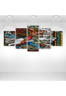 Quadro Decorativo - Stained Glass Windows - Composto De 5 Quadros - Multicolorido - Dafiti