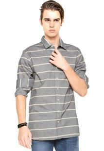 Camisa Handbook Listrada Cinza/Bege