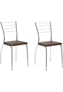 Kit 2 Cadeiras 1700 Cacau/Cromado - Carraro Móveis