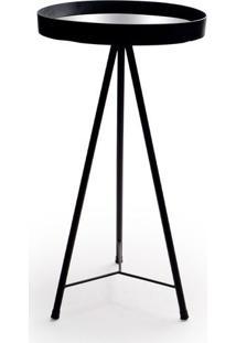 Mesa Armada- Espelhada & Preta- 67Xø35Cm- Decor Decor Glass