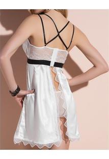 Camisola Strappy Renda Branca Desejo Belles 42