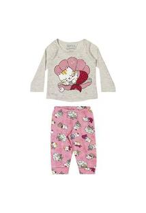 Conjunto Pijama Blusa Calça Meia Malha Rosa Elian 1 Rosa