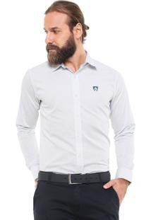 Camisa Mr Kitsch Reta Texturizada Branca/Verde