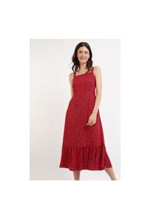 Vestido Feminino Mindset Midi Estampado De Poá Com Babado Alça Média Vermelho