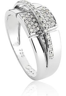 Anel De Ouro Branco 18K Aro Sob Aro E Quadrado De Diamantes