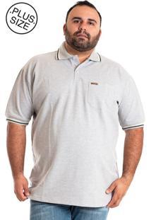 Camisa Polo Konciny Plus Size Cinza Claro