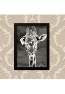 Quadro Decorativo 33X43Cm Nerderia E Lojaria Girafa Lingua Preto