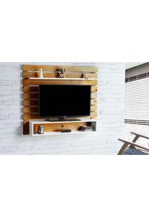Painel De Tv Para Sala Standby - Rack De Parede Para Tv Até 60 Polegadas Nózes E Branco - 135X23X115 Cm