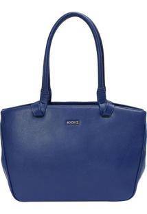 Bolsa Em Couro Com Detalhe De Tira- Azul- 24X35X12Cmiã³Dice