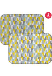 Jogo Americano Love Decor Multi Triângulos Cinza/Amarelo
