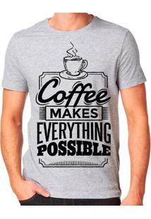 Camiseta Café Torna Tudo Possível Geek10 - Cinza
