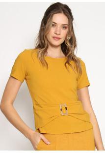 Blusa Com Recortes & Fivela - Amarelo Escuro - Estilestilo H