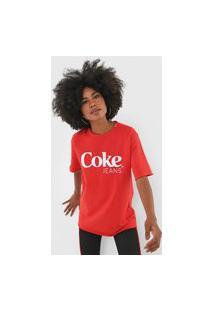 Camiseta Coca-Cola Jeans Lettering Vermelha