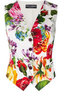 Dolce & Gabbana Colete Com Estampa Floral - Branco
