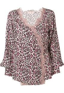 Gold Hawk Blusa Animal Print Com Renda - Neutro