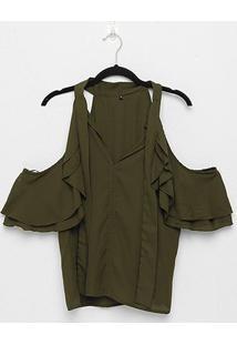 Blusa The Style Box Open Shoulder Babados Feminina - Feminino-Verde Militar
