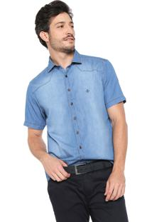 Camisa Jeans Dudalina Slim Estonada Azul