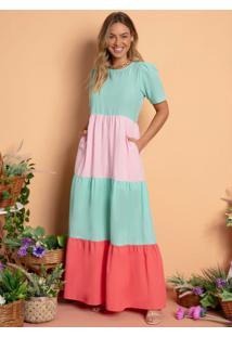 Vestido Longo Franzido Tricolor Turquesa