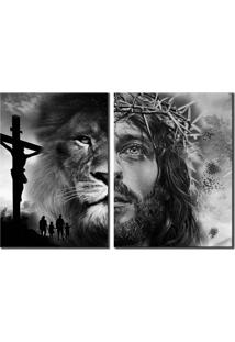 Quadros Decorativos Jesus E Leã£O De Judã¡ - Preto - Dafiti