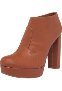 Ankle Boot Bebecê Meia-Pata Caramelo